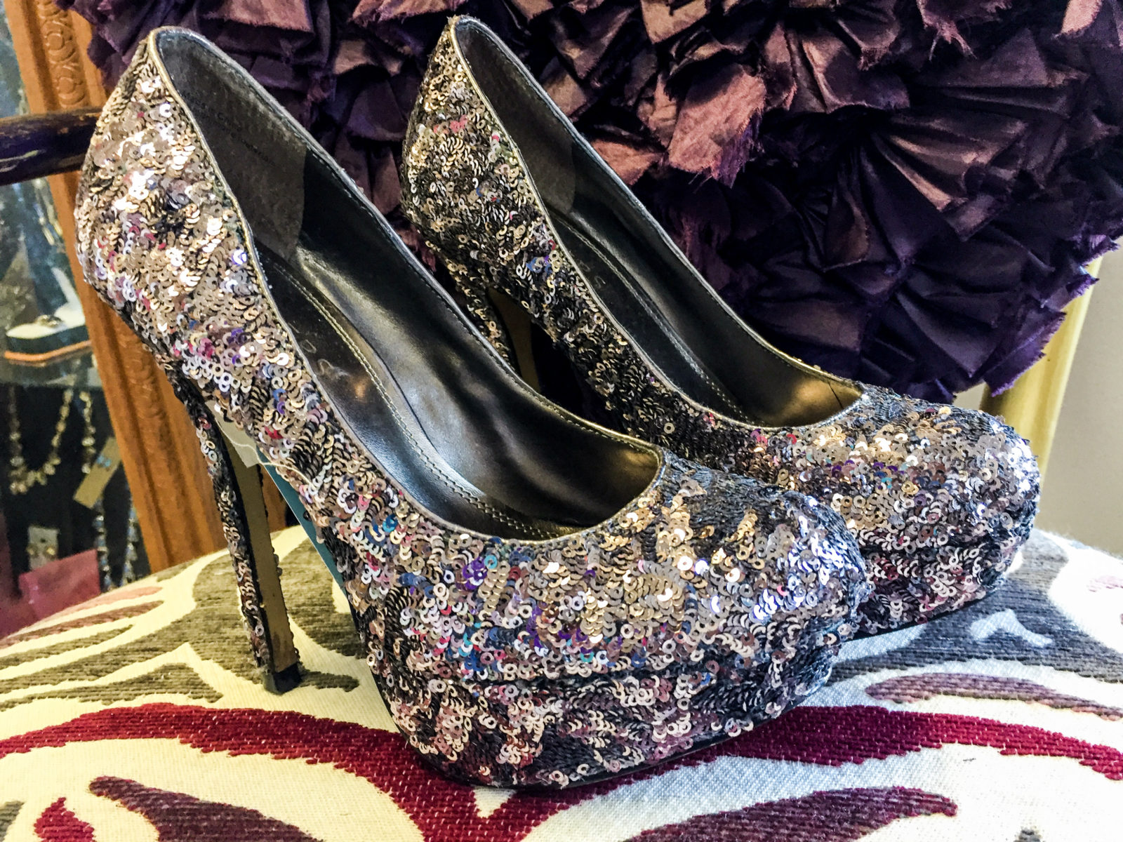 Platform Sequin Heels • Stunning sequin platform heels. These cuties have a slight tint of lavender in the sequins. The sequins catch the light and make them sparkle. They have 4.5 heels and are a size 7.5.