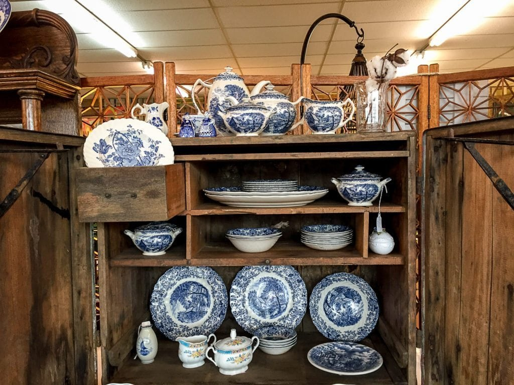 Granny's China • Made in England, this beautiful Johnson Brothers' Mill Stream blue and white pattern china will make any gathering special. You can buy the entire set or buy individual pieces. Stop by to see this special dinnerware.