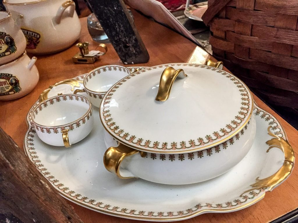 Haviland Limoges China • Haviland Limoges white & gold china pattern a 4 piece set. David Haviland, a retailer - NYC, started a factory in Limoges, France in 1842 to manufacture china for the American market. This is one of his patterns he created. A truly beautiful china pattern.