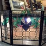 Vintage Stained Glass Screen • You will be the envy of other fireplace owners with this handcrafted stained glass screen! Black outline with brilliant emerald green, cobalt blue & rose. A photo doesn't do this beauty justice. Please come and ask to see this stained glass screen.