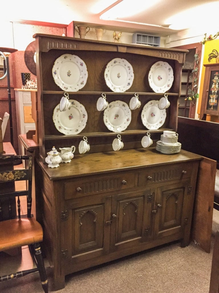 Antique English Buffet • This buffet/Hutch was made in England in the late 1800's. It is in almost new condition considering it age. It also has a matching table and 4 chairs for an addition price.