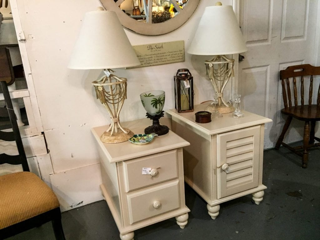 """Beautiful Off White Side Tables • Table w/2 drawers measures 24""""x28""""x23"""". The Lamps came from the same household and coordinate well. All are in excellent used condition. **Please nite that the table with the door has been sold-all other items available.** Come see in person!"""
