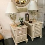 "Beautiful Off White Side Tables • Table w/2 drawers measures 24""x28""x23"". The Lamps came from the same household and coordinate well. All are in excellent used condition.