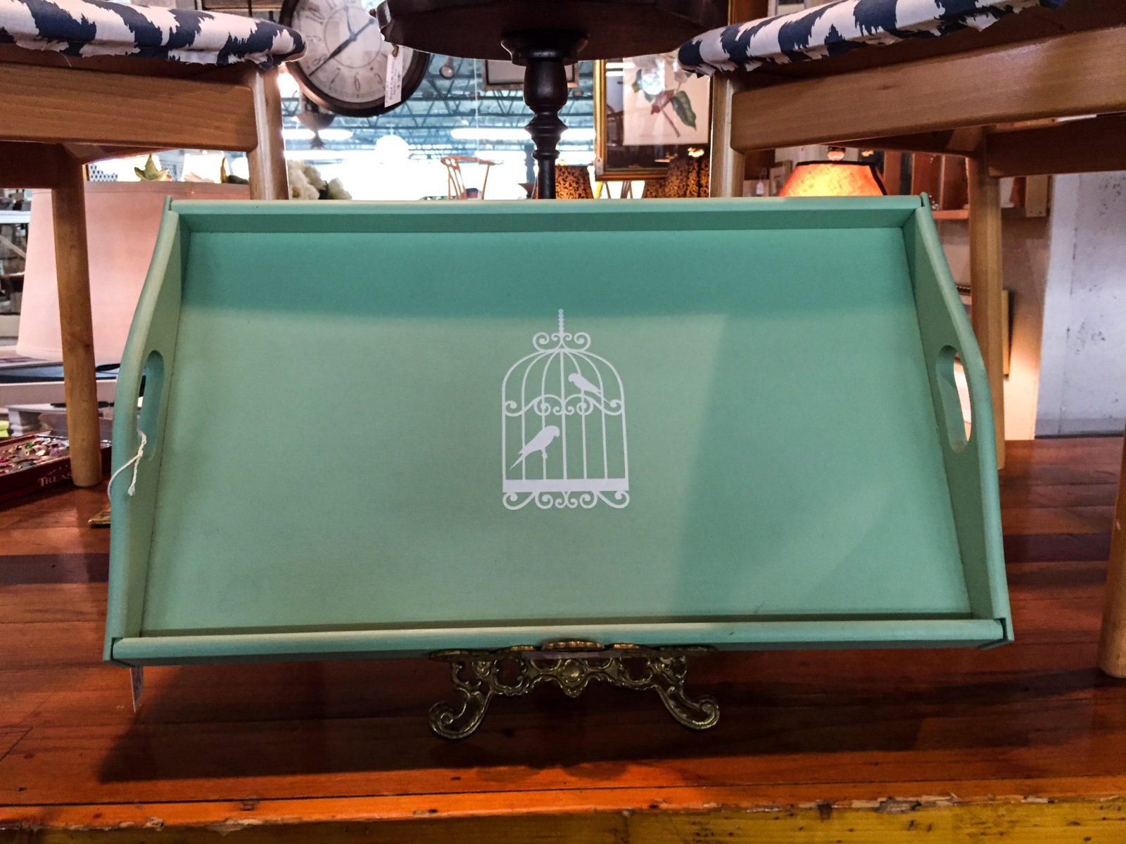 Bird Cage Tray • Upcycled teak tray painted in Fusion Mineral Paint Inglenook and embellished with a white birdcage. So pretty, and versatile! Use it indoors or out, as display decor or a functional serving piece!