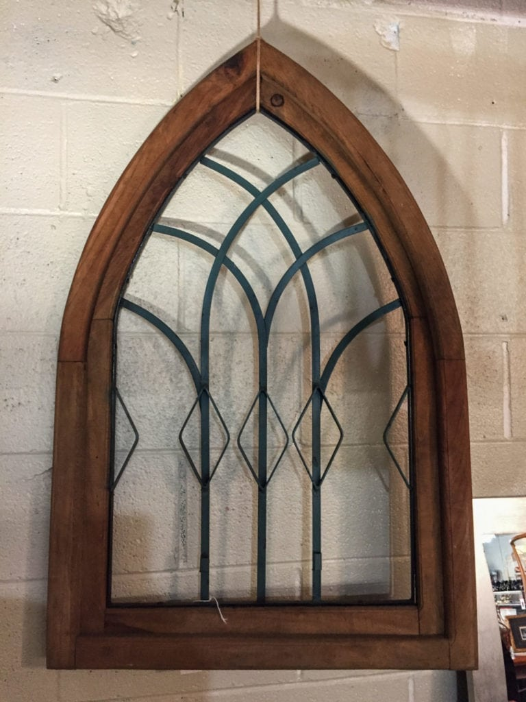"""Cathedral Arch Window Decor • Measures 40"""" x 26"""". Great decor item to hang on a wall or sit on a mantle or console table. Ready for paint or stain if desired."""