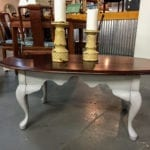"""Oval Coffee Table • Gray chalk painted with dark gray shadowing and gray wax. Dark stained top was not touched, and can be custom re-stained or painted for you. Measures 45 1/2"""" x 23 1/2"""" x 17 1/2""""."""
