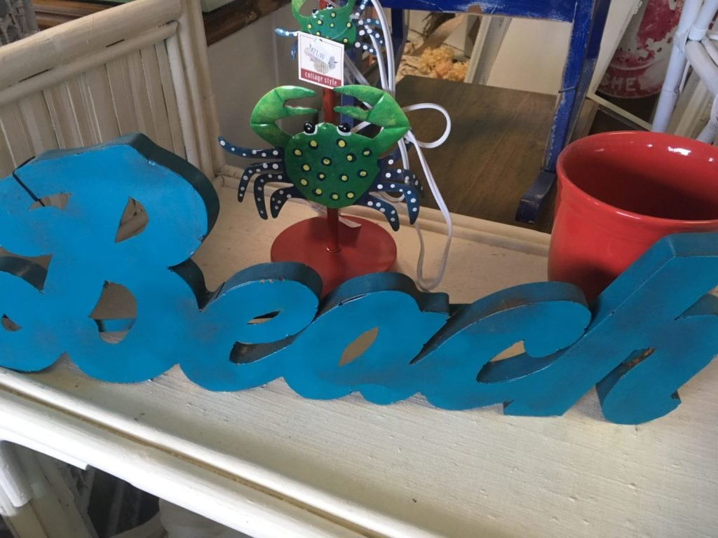 Metal Distressed Beach Sign • This sign says it all...BEACH...metal sign in a vibrant blue with just the right amount of rust!