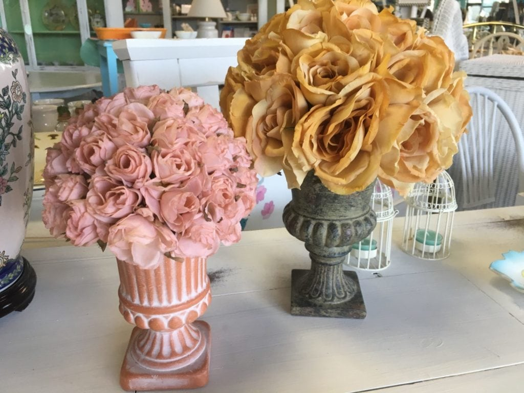 Faux Floral Topiaries • So shabby chic...this is a set of two faux rose topiaries in ceramic urns in two varying sizes. Gorgeous on a mantle, bedside table or vanity.