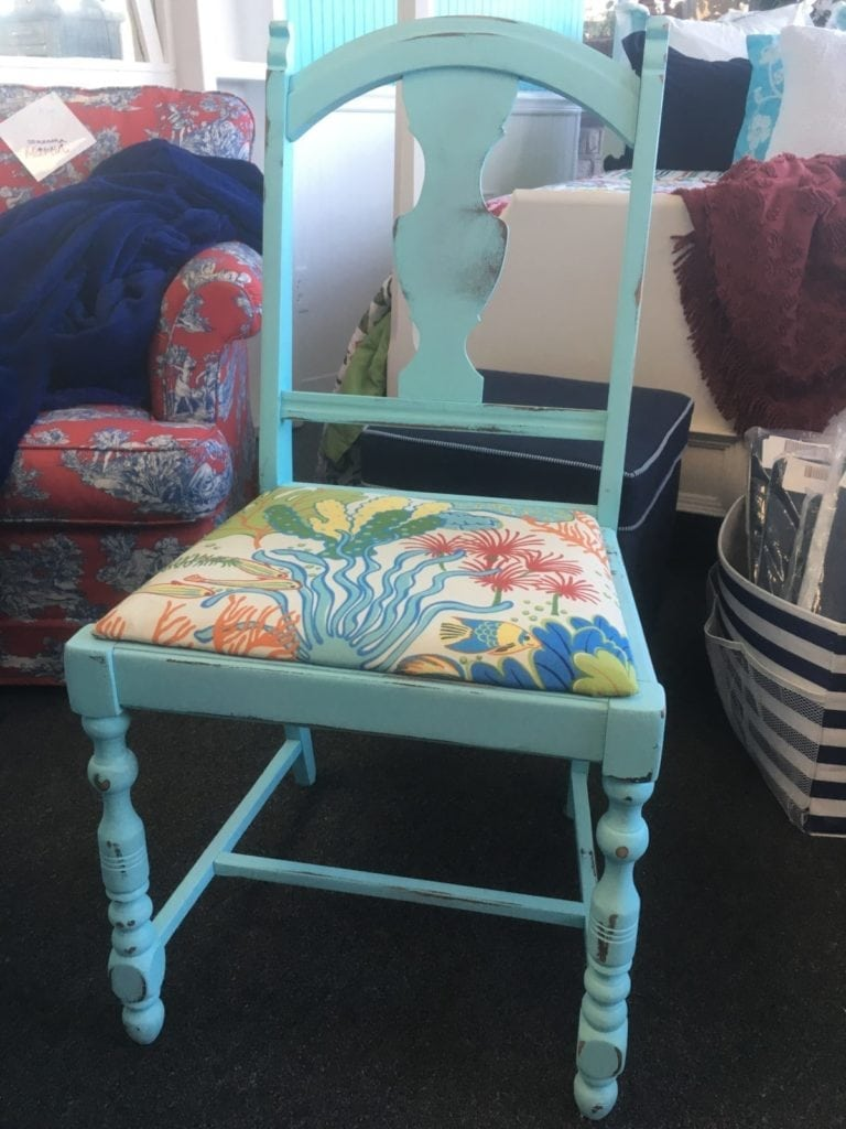 Set of Four Aqua Dining Chairs • Set of four aqua chalk painted dining chairs with a bright and vibrant coastal seat cushion. Pairs beautifully with our round pedestal table or maybe with your kitchen table?