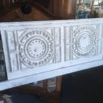Antique Chalk Paint Headboard • Queen size vintage headboard in a white chalk paint with heavy distressing. Extremely ornate and unique headboard that is quite the statement piece!