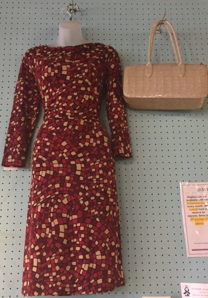 Dress and handbag • Beautiful red and tan dress paired with a tan handbag. Items sold separately.