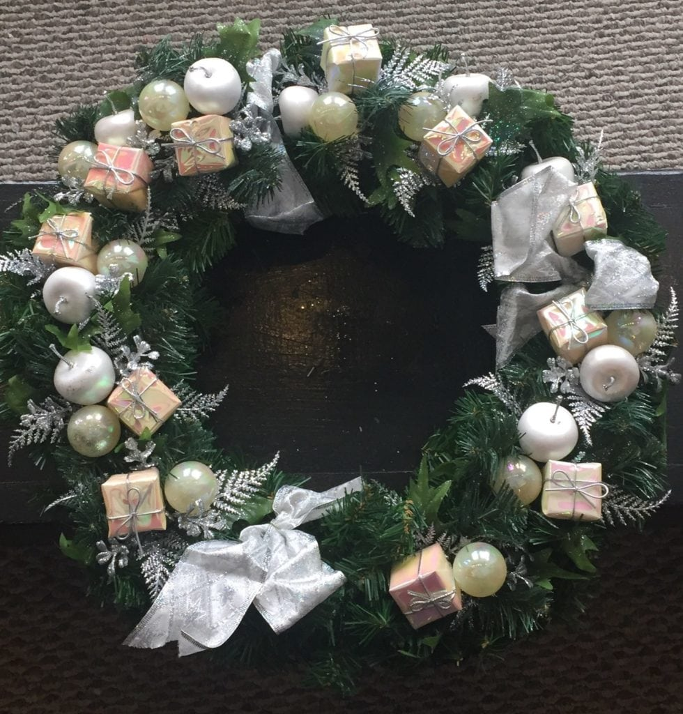 Christmas wreath • Green pine wreath with silver color, and tiny Christmas packages.