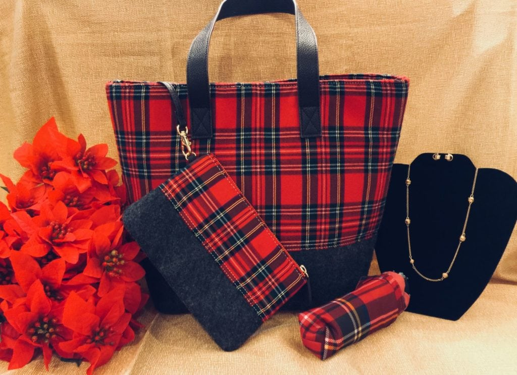 Plaid Purse • Plaid Purse With Wallet & Umbrella