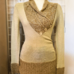 Beautful Calvin Klein Sweater • Beautiful two toned, tan sweater with stylish cuffs. V-neckline with 3 button accent.  Would look great paired with dark jeans and boots.