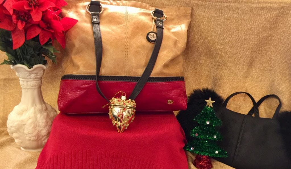 Saks handbag • Saks tan, red, & black shoulder bag