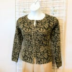 Stylish Button Sweater • Beautiful green and black patterned sweater. Size medium. Can be worn buttoned or open as a jacket. Perfect with tan or black pants. Also looks great with jeans and boots.