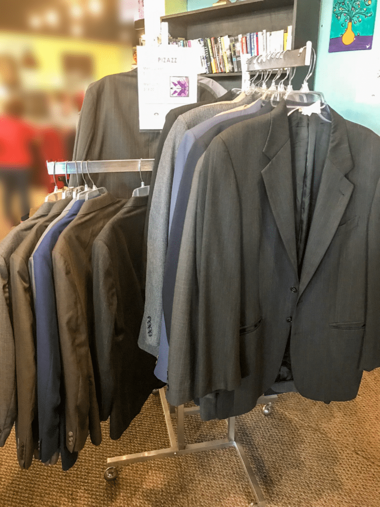 Wide Selection of Men's Suits • We carry a great selection of Men's suits. Full suits sell for $15 and single sport coats sell for $6