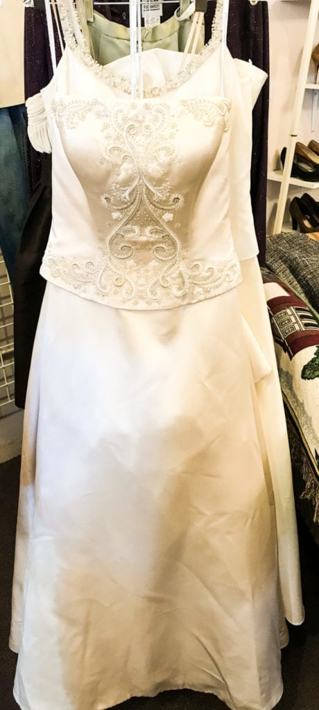 Oleg Cassini Wedding Gown • Beautiful white satin with embroidered top wedding gown. Size 6.