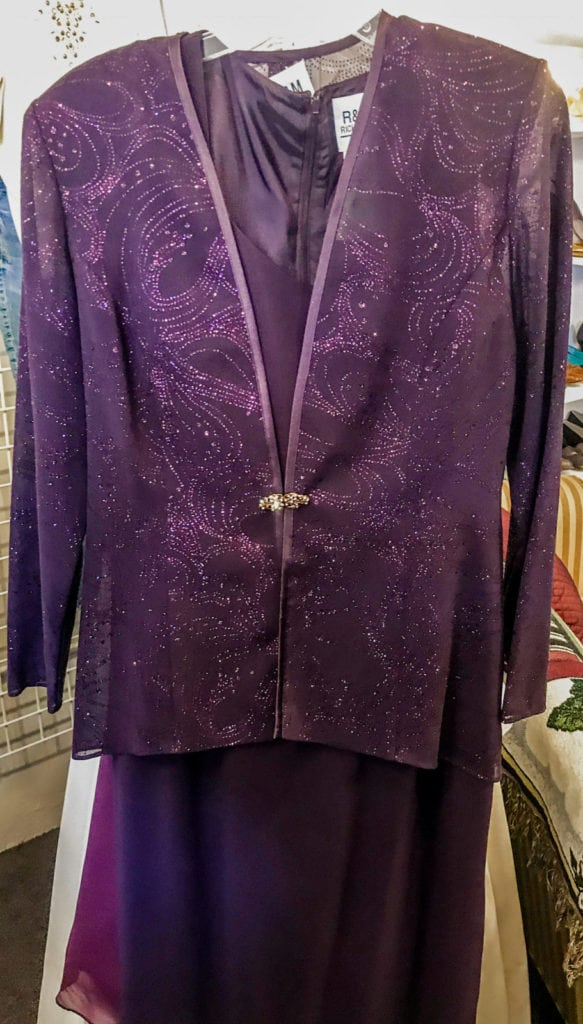 Purple R&M Richards Evening Dres • Gorgeous evening dress by R&M Richards. This purple beaded dress will surely turn some heads. This is a size 10.