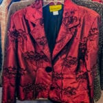 Painted Pony Dinner Jacket • Burgundy and black jacket. One button, can be worn buttoned or open. Size small.