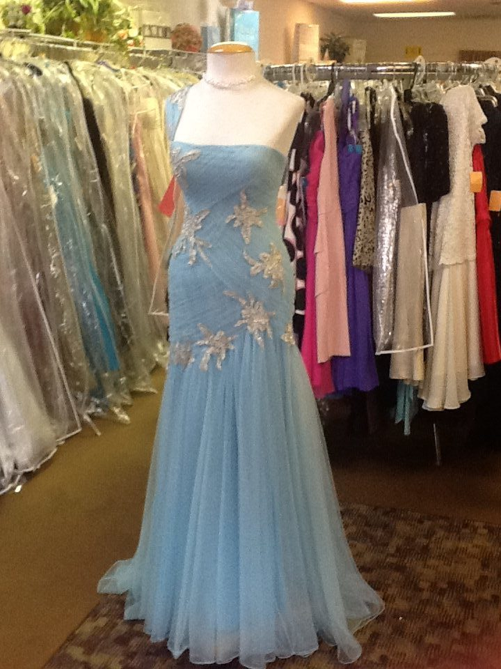Lovely Blue Gown • One shoulder gown Size 2