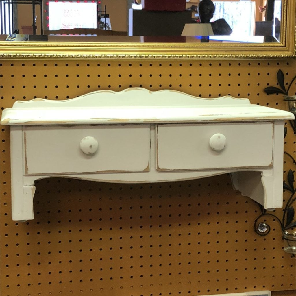 White Distressed Shelf • Redone white & lightly distressed. Would look awesome in a kitchen, living room or even bathroom. Put little feet in to also go on top of something.