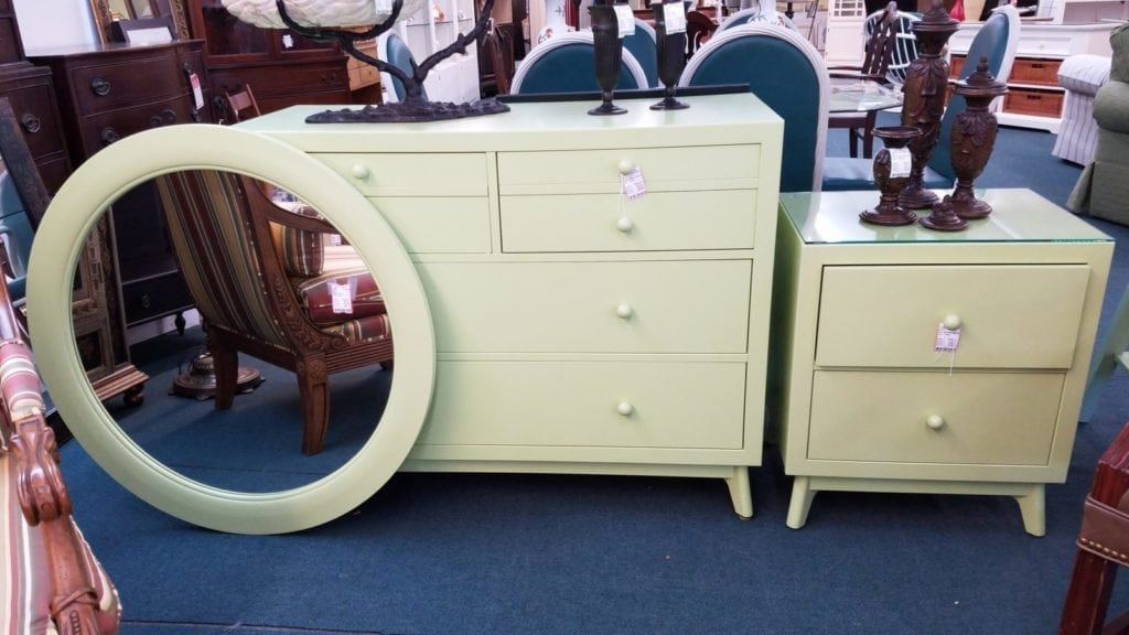 Apple green furniture • Dresser, bedside table, and round wall mirror. All items sold separately.