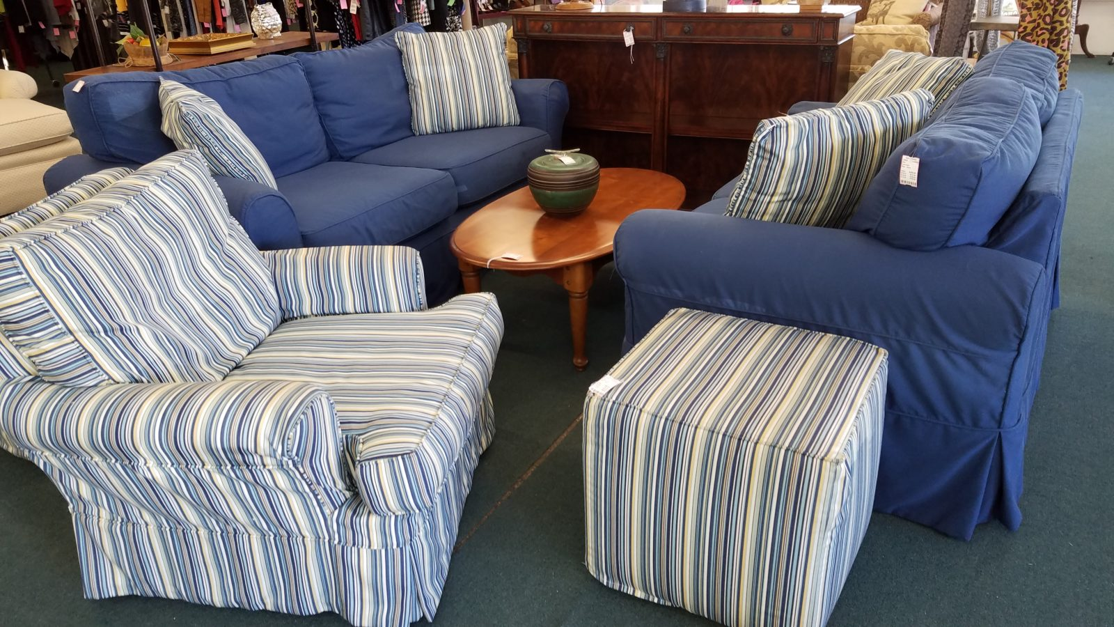 Blue Slip Covered Furniture Take 2 Resale ~ How To Coordinate Throw Pillows For Sofa And Chairs