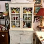 Hand painted White China Cabinet •
