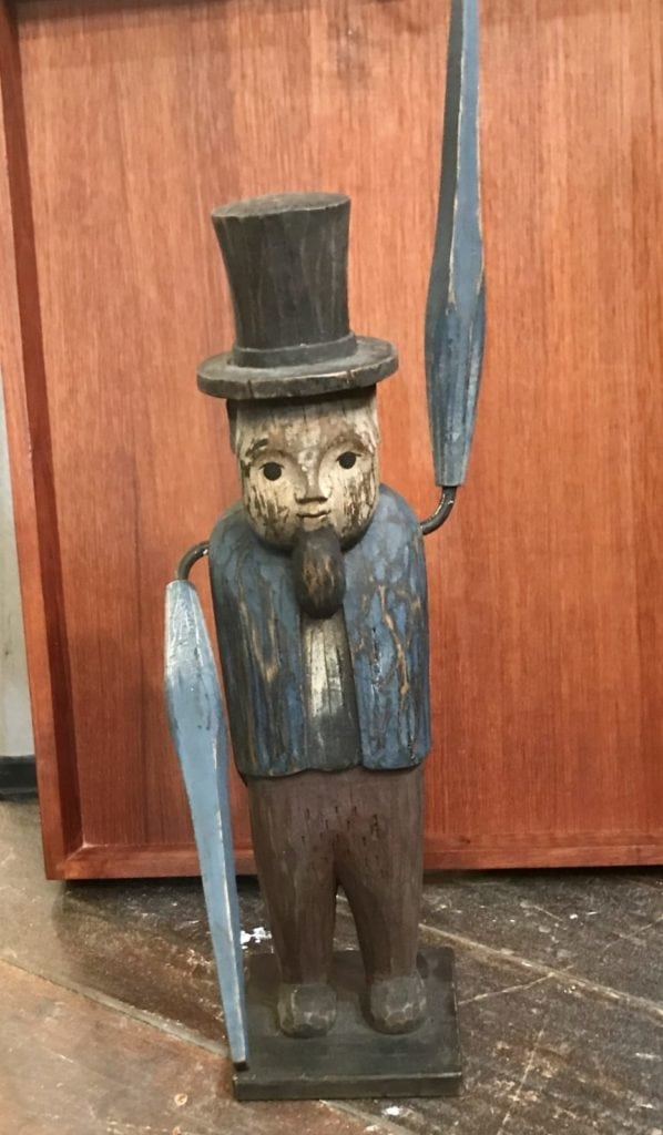 Abe Lincoln primitive whirligig • Sold!  We are always on the lookout for unusual and different vintage items like this. If you're looking for something special, we can reach out to our contacts. If you have something you'd like to sell, contact us! We'd love to make you an offer!