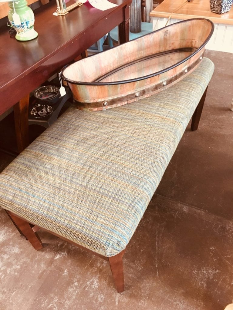 """Oversized Bench • This oversized bench is great for extra seating in a kitchen or o sunroom.  It is 48"""" wife and 21""""deep"""