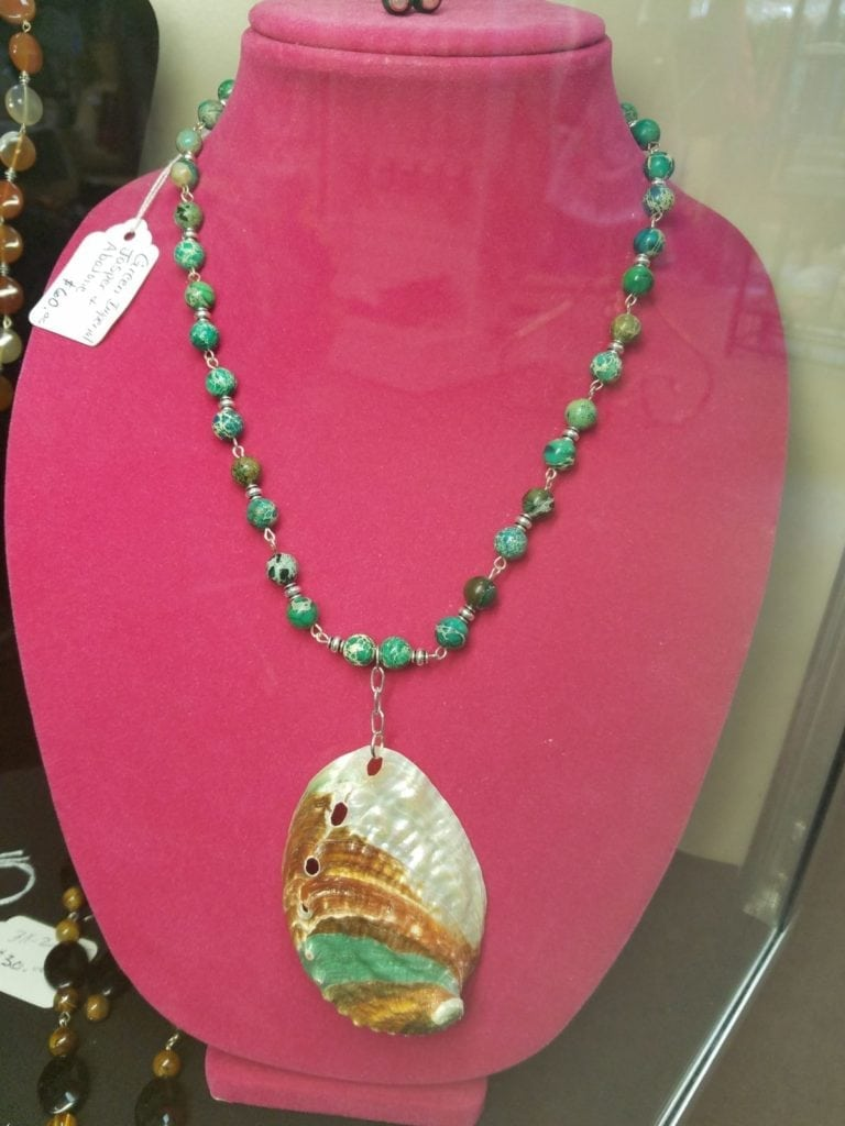Abalone shell necklace • This beautifully handcrafted abalone shell necklace it strung with semi-precious stones. It is a set and includes marching earrings. Bob has many other sets here for you to see, a color for every outfit.