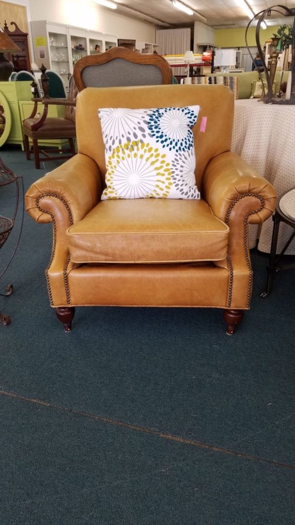 Pottery Barn Leather Chair •