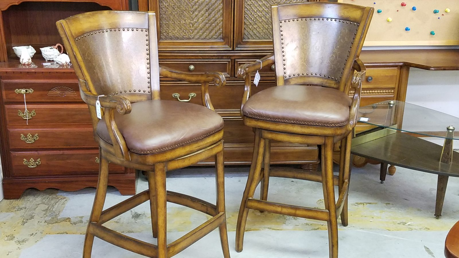 leather swivel bar chairs •