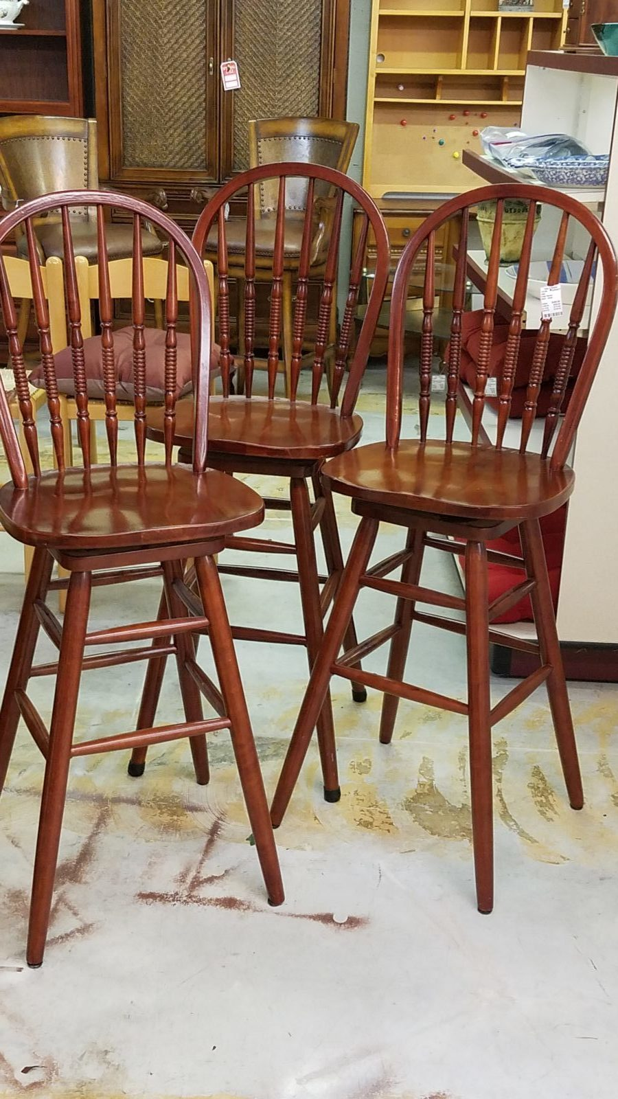 wood swivel bar chairs •