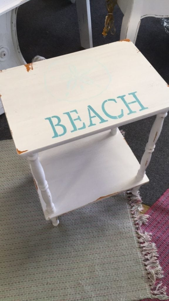 BEACH Accent Table • Chalk painted Accent Table with hand painted details.....charming sand dollar and the word BEACH painted underneath. Perfect between two rockers or on a covered porch.