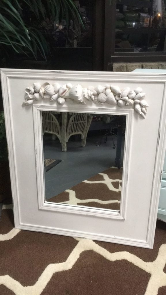 Hand Made Shell Mirror • Beveled mirror in a wooden frame accented by real sea shells chalk painted white and lightly distressed. Stunning in an entrance hall, sun room or beach house. Unique one of a kind piece...