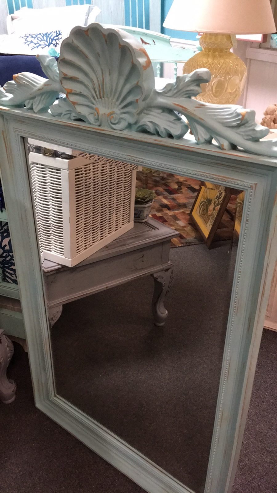 Aqua Shell Mirror • Stunning Aqua colored chalk painted large mirror lightly distressed. Features a large shell along the top and a beaded edge for a simple and elegant look. Would look amazing in an entry way or over a buffet in a dining room.