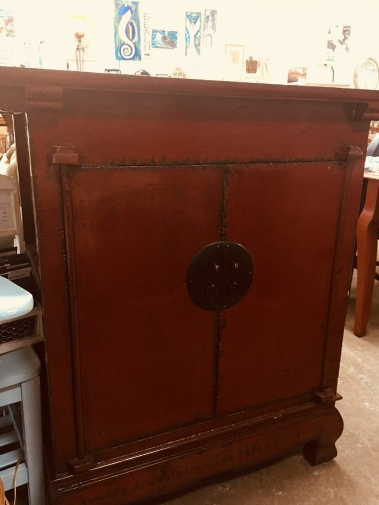 Red Console Chest • This unique Red chest can be used as a bar or display cabinet.  Beautiful painted in a distressed look