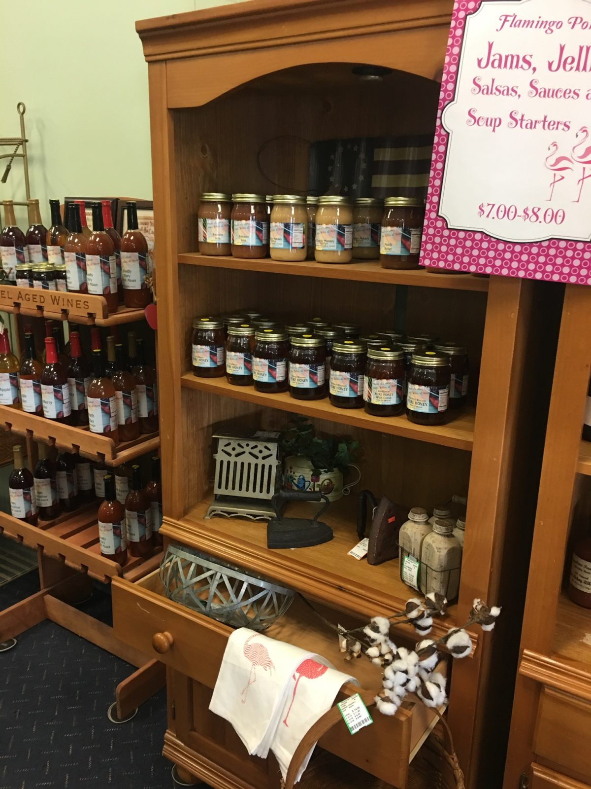 Jams, Jellies and Salsa • Products from local farm in North Carolina. Funky Monkey Butter spread, Traffic Jam, Toe Jam, Muscadine Preserves and many more! Add to that a line of Ciders, Blueberry Cider, Peach Cider and BlackBerry Cider.   Pineapple Salsa and others.