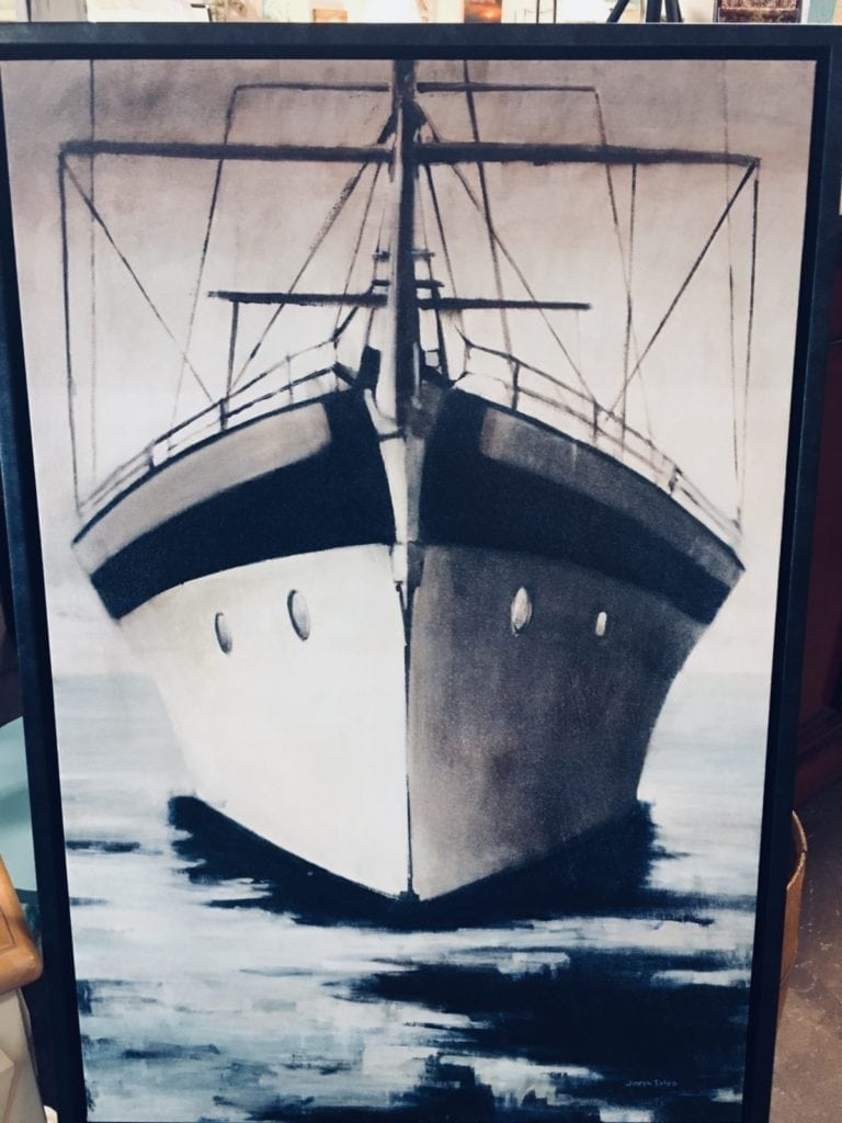 Boat picture • Beautiful canvas of a Boat that is framed in wood