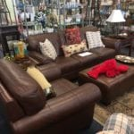 Leather set • Sofa, Chair and Ottoman in leather