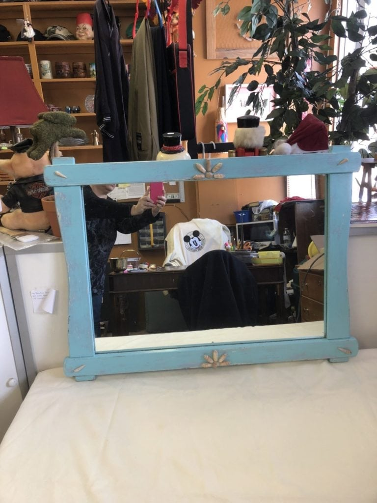 Beachy Mirror • Vintage mirror repainted a Beachy Blue and added shells to give it a special touch. Measures 34Lx25-1/2Wx1-1/4D