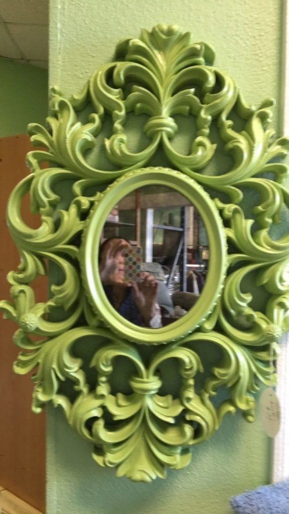 Lime Green Retro Mirror • Very retro vintage mirror in a bright lime green color and smokey glass mirror for a true vintage look. Add a pop of color to your entry, bathroom or even your dining room.