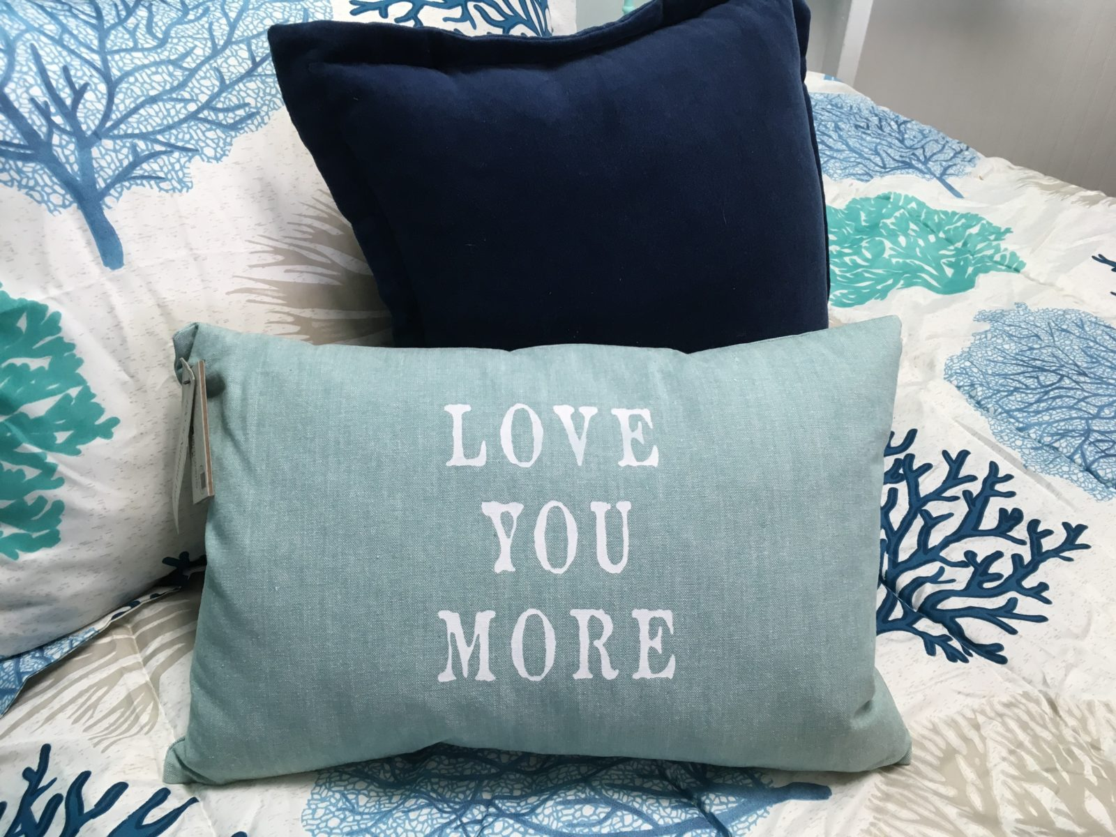 "Love You More Pillow • This 12"" x 18"" Pillow says it all...""Love You More"" ...what a wonderful Valentine's Day Gify for that special someone! Light blue/green chambray fabric cover that zips off for easy cleaning and a goose down feather insert for a squishy, cozy feel."
