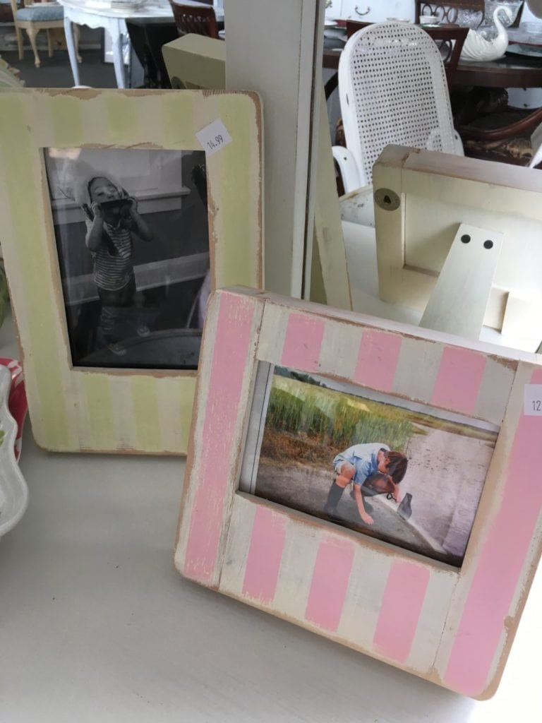 Assorted Striped Picture Frames • Darling wooden frames available in two sizes and two colors. Faint stripes lightly distressed are just waiting for your perfect picture!