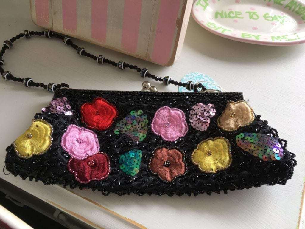 Sequined Floral Evening Bag • Unique sequined, Beaded and embroidered evening bag with a beaded strap. Wonderful gift for that special lady! She certainly won't see anyone else carrying this bag!