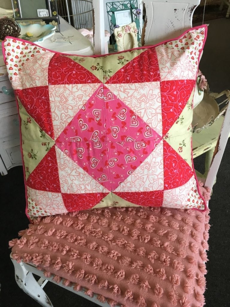 """Heart Quilted Pillow • Charming hand made Pillow with assorted heart fabrics Quilted into a decorative 18"""" x 18"""" Pillow with a piped pink edge. Split back for cleaning or changing the insert out."""