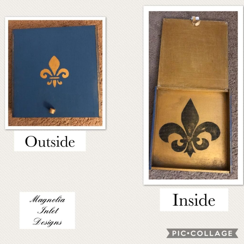 Fleur de Lis box • This Fleur de Lis trinket box was upcycled from a cigar box. Place cell phone, keys etc. on an entryway or bedside table, store special photos or other memorabilia, the possibilities are endless!