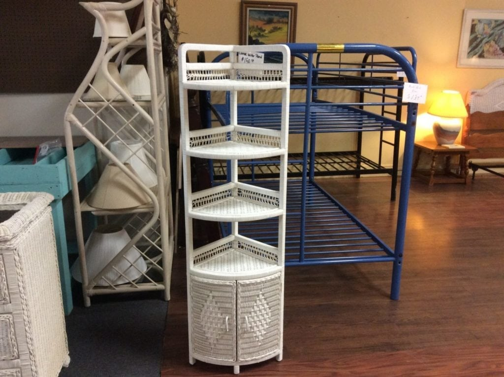 Wicker corner stand • Great buy on this white wicker corner stand. Excellent gently used condition